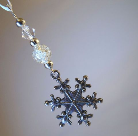 Silver Snowflake, Clear Crackle Bead & Crystal - Xmas Tree Decoration